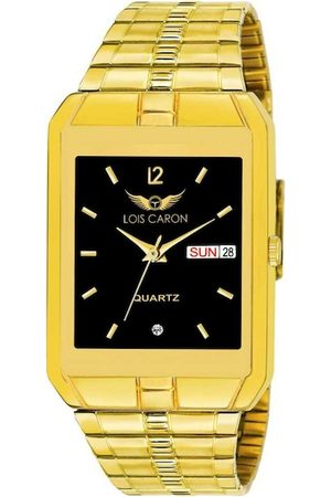 LOIS CARON Men Black Dial & Gold Toned Stainless Steel Bracelet Style Straps Analogue Watch