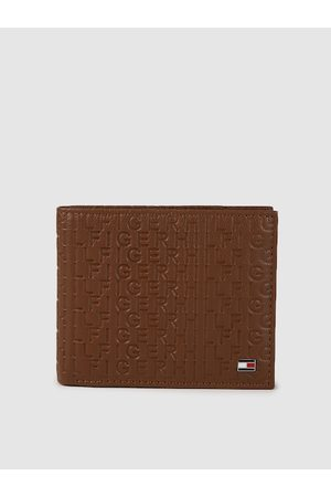 Tommy Hilfiger Men Brown Typography Textured Leather Two Fold Wallet
