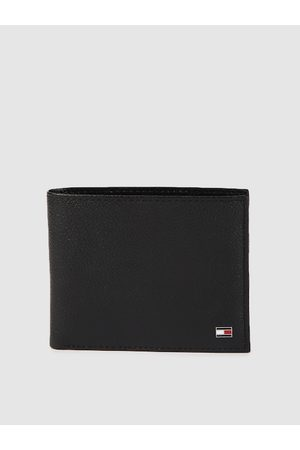 Tommy Hilfiger Men Black Solid Leather Two Fold Wallet
