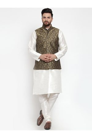 Jompers Men White & Gold-Toned Solid Kurta with Churidar And Nehru Jacket