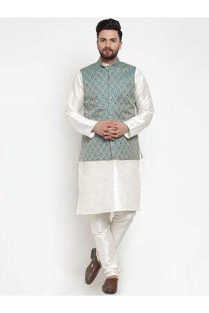 Jompers Men White & Green Solid Kurta with Churidar And Nehru Jacket