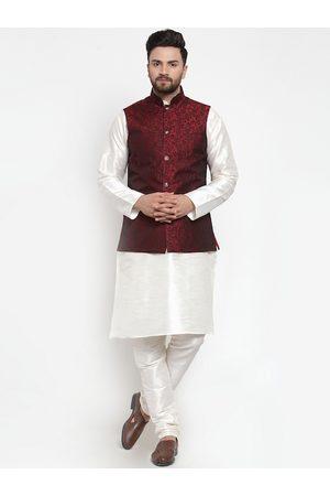Jompers Men White & Maroon Solid Kurta with Churidar And Nehru Jacket