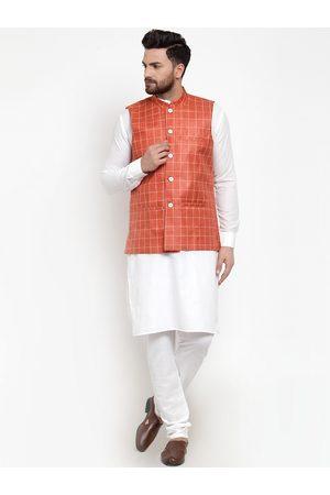 Jompers Men White & Orange Solid Kurta with Churidar And Nehru Jacket
