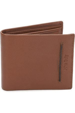 Allen Solly Men Tan Brown Solid Two Fold Leather Wallet