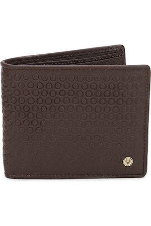 Allen Solly Men Coffee Brown Geometric Textured Two Fold Leather Wallet