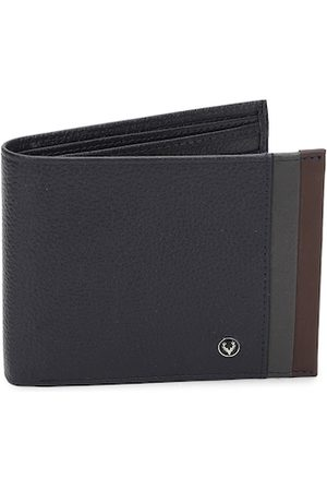 Allen Solly Men Navy Blue Textured Two Fold Leather Wallet with Striped Detail