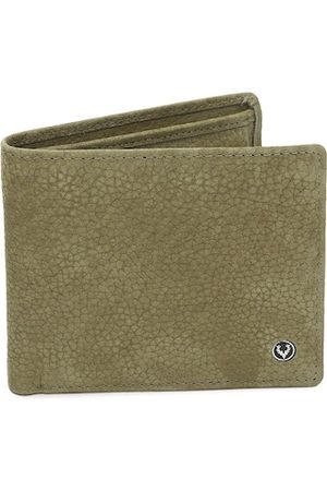 Allen Solly Men Olive Green Solid Two Fold Leather Wallet