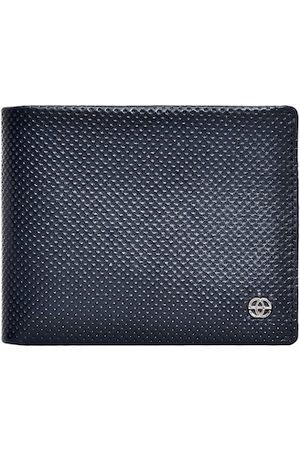 Eske Men Blue Textured Two Fold Wallet