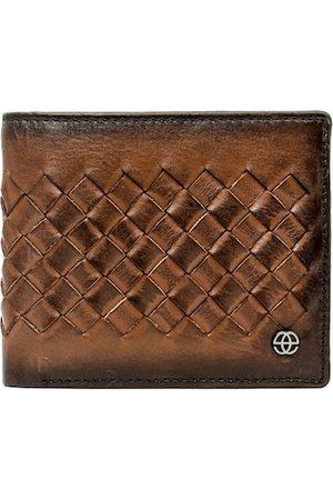 Eske Men Tan Self Design Two Fold Wallet