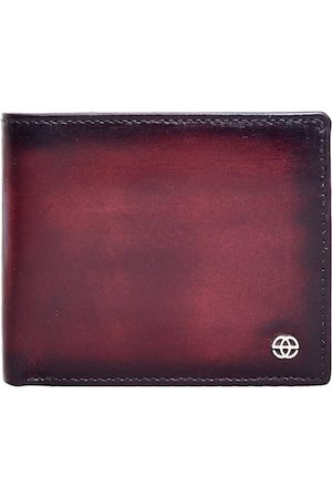 Eske Men Burgundy Textured Two Fold Wallet