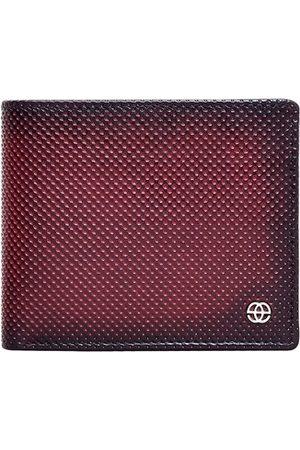 Eske Men Burgundy Textured Leather RFID Two Fold Wallet