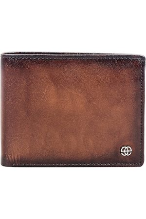 Eske Men Tan Textured Two Fold Wallet