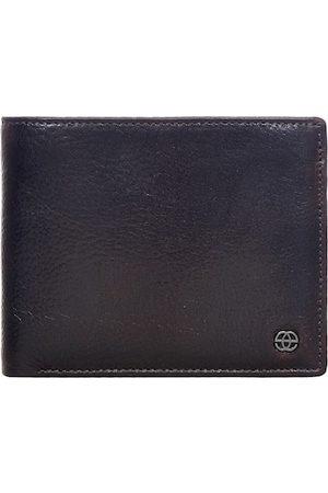 Eske Men Coffee Brown Textured Leather RFID Two Fold Wallet