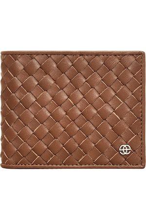Eske Men Brown Self Design Leather RFID Two Fold Wallet