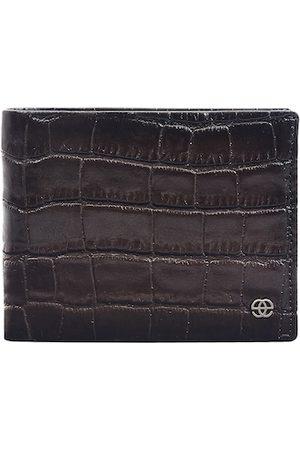 Eske Men Brown Crocodile Textured Two Fold Wallet