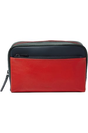 Fossil Men Red & Black Colourblocked Shave Kit Pouch MLG0665998