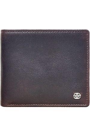 Eske Men Brown Solid RFID Leather Two Fold Wallet