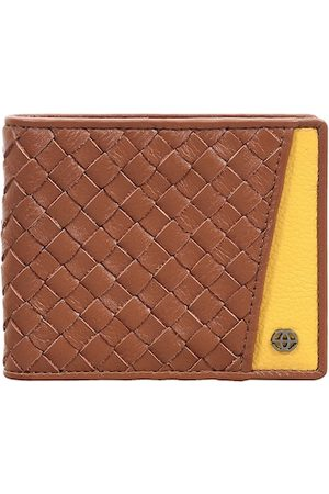 Eske Men Brown & Yellow Textured Leather RFID Two Fold Wallet
