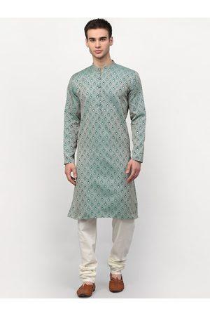 Jompers Men Green Ethnic Motifs Printed Kurta with Pyjamas