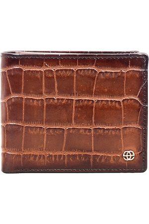 Eske Men Tan Textured Crocodile Print RFID Leather Two Fold Wallet