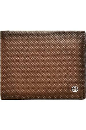 Eske Men Brown Textured Two Fold Wallet