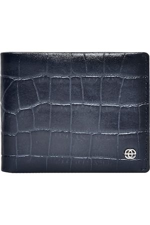 Eske Men Navy Blue Textured Crocodile Print RFID Leather Two Fold Wallet