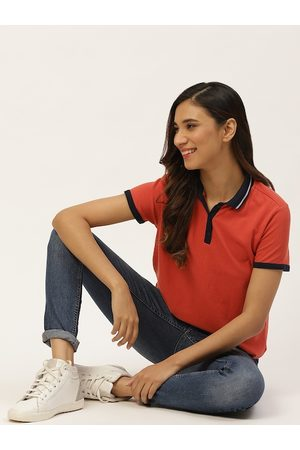 DressBerry Women Coral Red Pure Cotton Polo Collar T-shirt