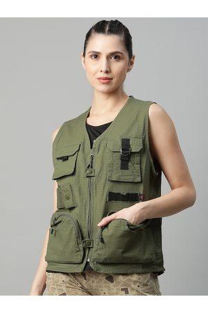 HRX Women Jungle Green Solid Bio-Wash Outdoor Jacket