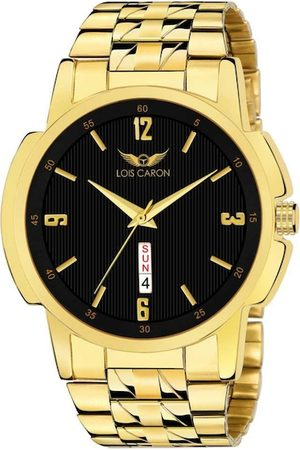 LOIS CARON Men Black Dial & Gold-Plated Bracelet Style Straps Analogue Watch MLC-8480