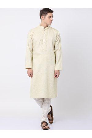TABARD Men Cream-Coloured & White Pure Cotton Self Design Kurta with Churidar