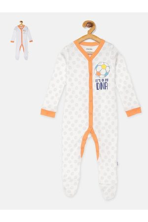 mackly Infant Boys Pack Of 2 Printed 100% Cotton Sleepsuits