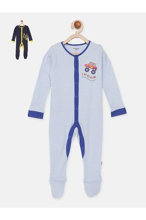 mackly Infant Boys Pack Of 2 100% Cotton Sleepsuits