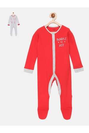 mackly Infant Girls Pack Of 2 Printed 100% Cotton Sleepsuits