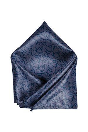 Blacksmith Men Grey & Blue Printed Linen Pocket Square