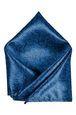 Blacksmith Men Blue & Black Leaves Printed Pocket Square
