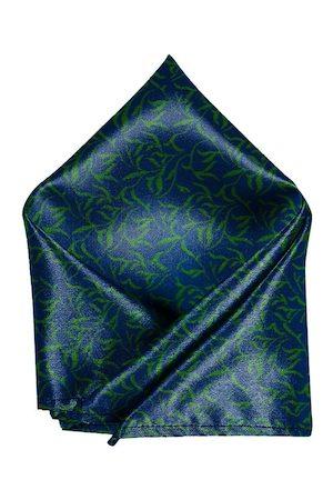 Blacksmith Men Green & Blue Printed Linen Pocket Square