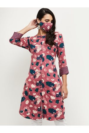 Max Collection Women Pink Floral Printed Kurta with Mask