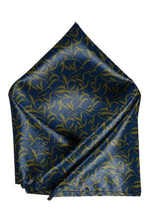 Blacksmith Men Navy Blue & Yellow Leaves Printed Pocket Square