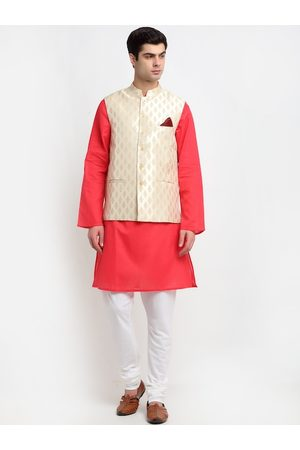 NEUDIS Men Red Layered Pure Cotton Kurta with Churidar