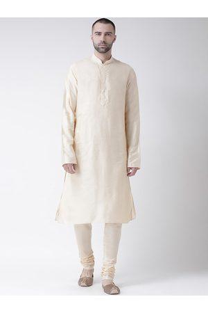 KISAH Men Cream-Coloured Solid Kurta with Churidar