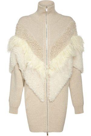 Stella McCartney Women Coats - Faux Fur Wool Knit Zip-up Coat
