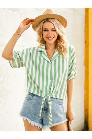 YOINS Striped Button Front Tie-up Design Lapel Collar Short Sleeves Blouse