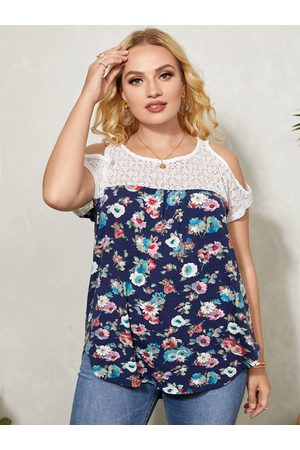 YOINS Plus Size Cold Shoulder Floral Print Lace Insert Short Sleeves Tee