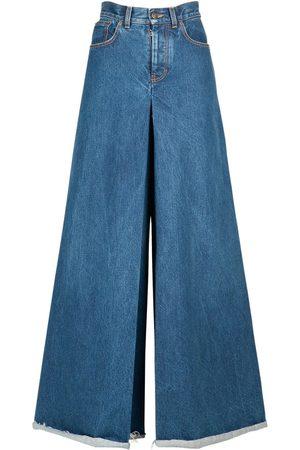 Maison Margiela Women Trousers - Cotton Denim Maxi Pants