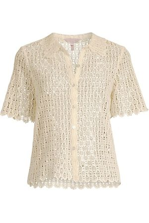 REBECCA TAYLOR Pina Embroidery Cropped Shirt