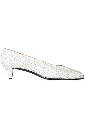 The Row Lady D Woven Leather Kitten Heels in Bianco