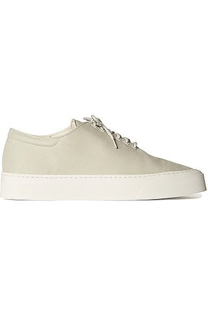 The Row Marie H Lace Up Canvas Sneakers in Light Grey