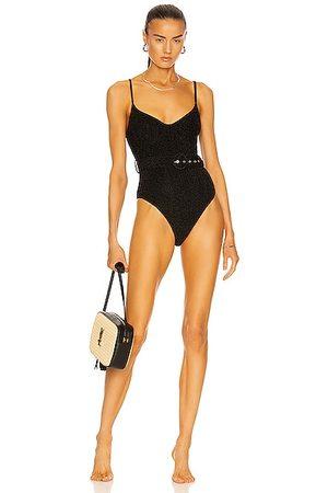 JONATHAN SIMKHAI Noa Belted Bustier Swimsuit in Metallic