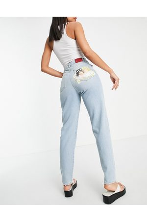 Fiorucci High waisted jeans in vintage wash with angel logo