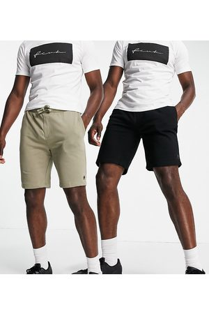 French Connection Tall 2 pack jersey shorts in black and light khaki